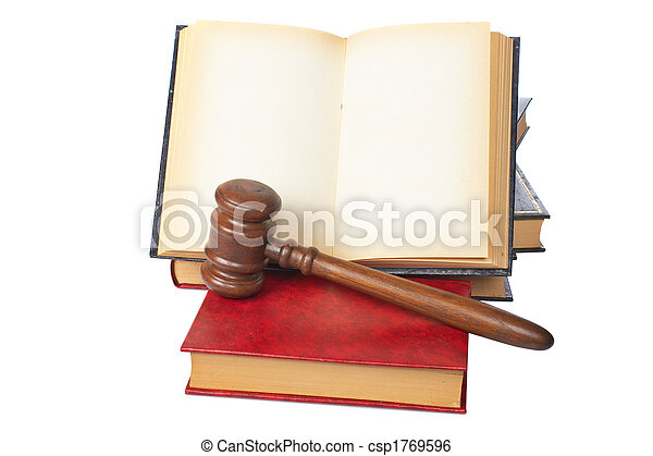 Wooden gavel and old opened law book - csp1769596