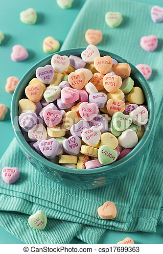 Candy Conversation Hearts for Valentine's Day - csp17699363