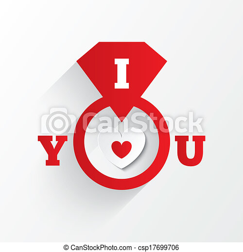 Engagement ring. I love you sign. Red paper heart - csp17699706