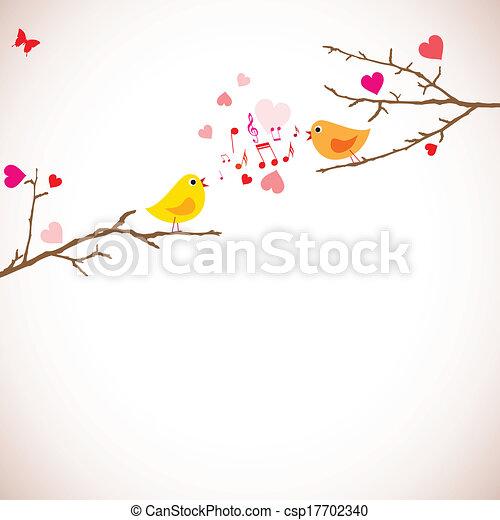 Valentine's day background. Birds on branches (vector) - csp17702340