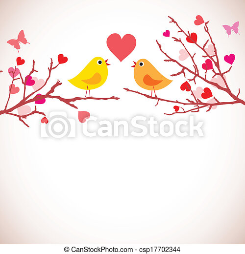 Valentine's day background. Birds on branches (vector) - csp17702344