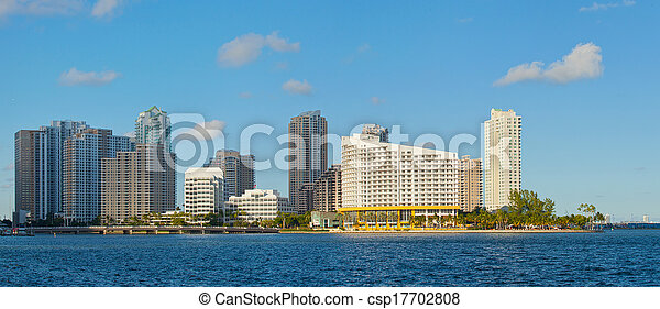 City of Miami, Florida cityscape of downtown  business and residential buildings on a beautiful summer day - csp17702808