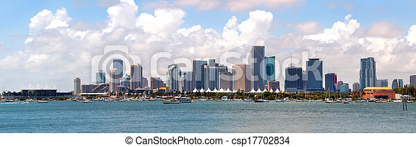 City of Miami, Florida cityscape of downtown  business and residential buildings on a beautiful summer day - csp17702834