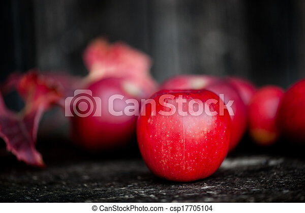 Organic red apples from autumn harvest in agriculture theme - csp17705104