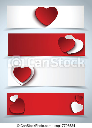 Valentines Day Set of Four Web Banners - csp17706534