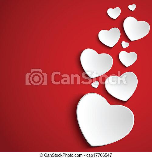 Valentine Day Heart on Red  Background - csp17706547
