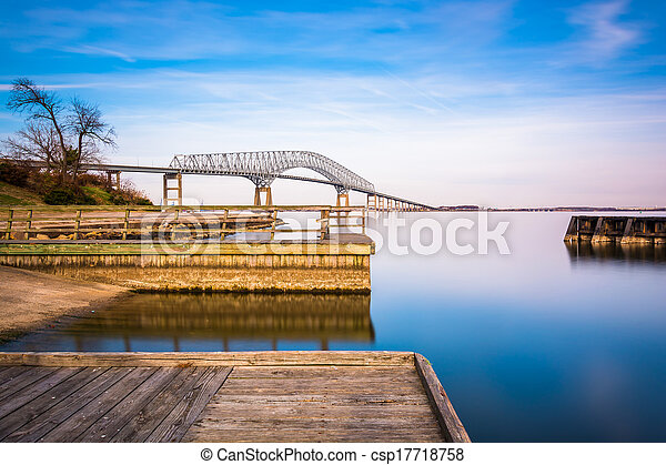 Long exposure of piers in the Patapsco River and the Francis Scott Key Bridge, from Fort Armistead Park, Maryland. - csp17718758