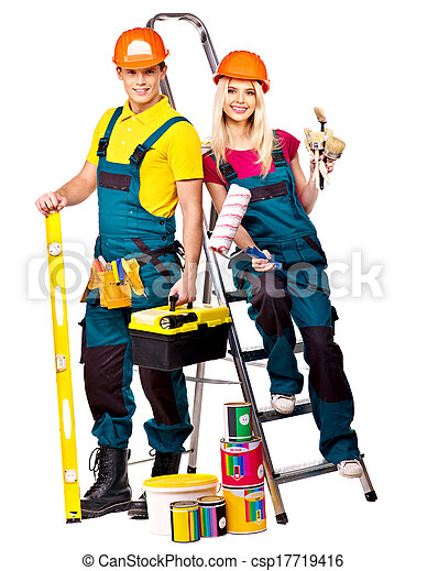 Couple builder  with construction tools. - csp17719416