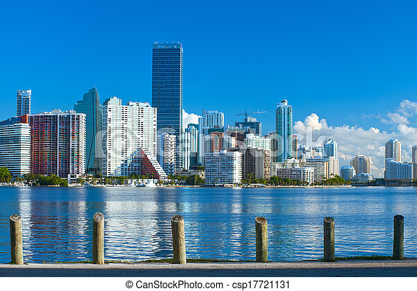 City of Miami Florida, summer panorama of downtown buildings on a beautiful day with blue sky - csp17721131