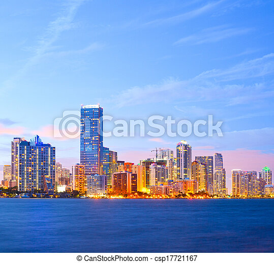 City of Miami Florida, colorful night panorama of downtown business and residential buildings - csp17721167