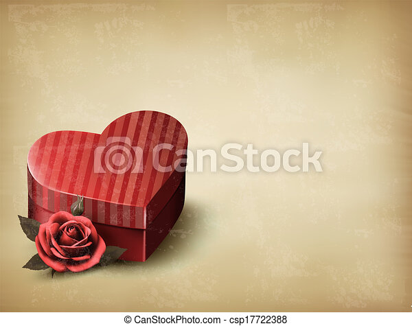 Holiday vintage Valentine`s day background. Red rose with red heart-shaped gift box. Vector illustration. - csp17722388