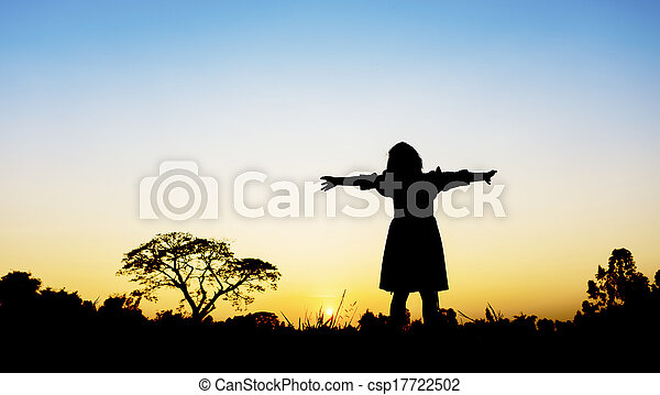 Little girl with sunset - csp17722502