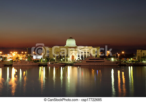 Government building at night in Sharjah, United Arab Emirates - csp17722685