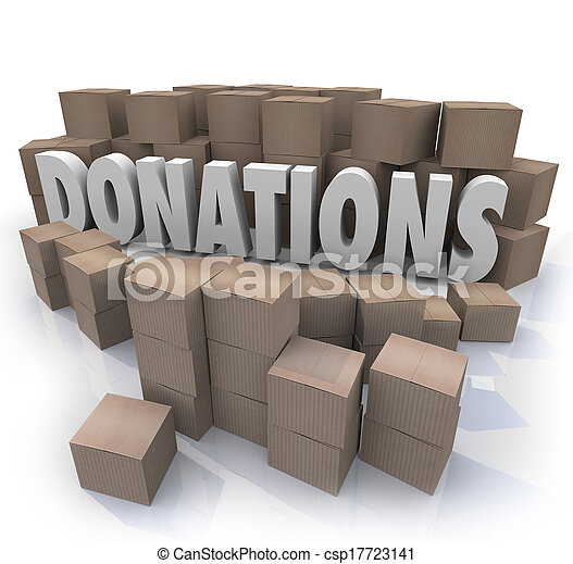 Many cardboard boxes of donated items, clothes, food and other goods in need around the word Donations to illustrate a charity drive collection warehouse - csp17723141