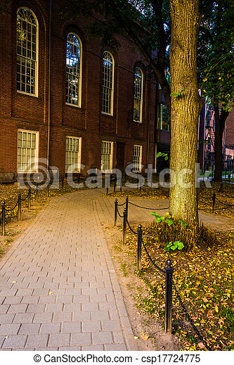 Path through a historic cemetary in Boston, Massachusetts. - csp17724775