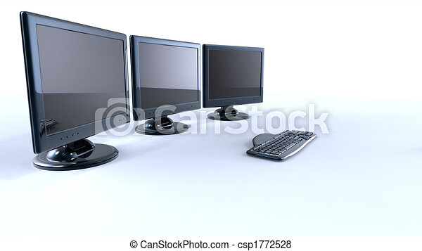 three lcd screens with keyboard and mouse on white background - csp1772528