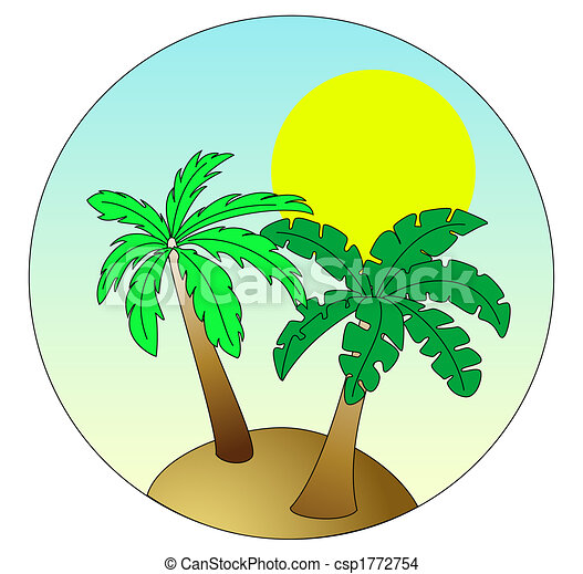 Palm Island on sky blue background with sun - csp1772754