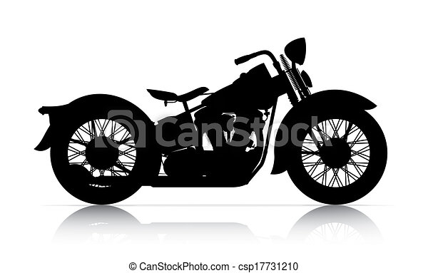 Clipart of silhouette of classic motorcycle onwhite back ...