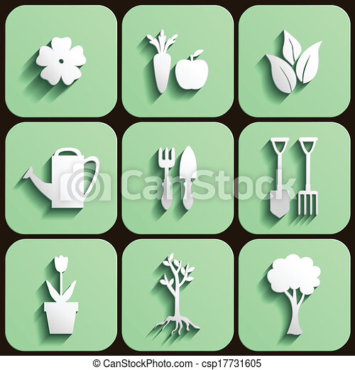 Garden and nature icon set - csp17731605