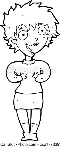 cartoon excited woman - csp17733990