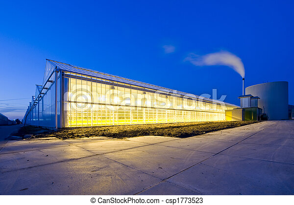 Glasshouse at dusk - csp1773523