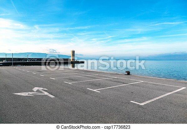 Empty parking area with sea landscape - csp17736823
