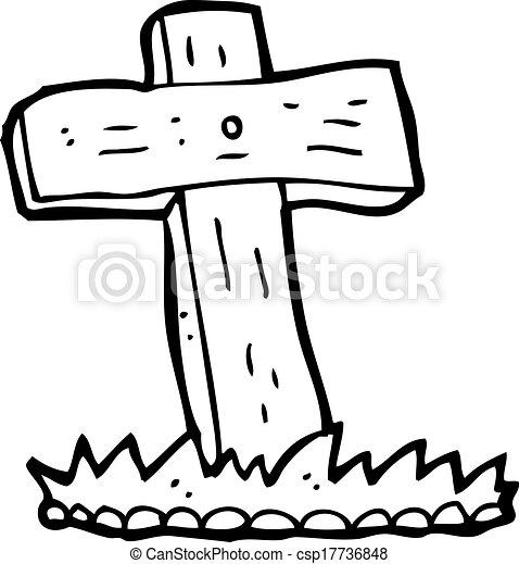 Cross Cartoon Drawing Vector Cartoon Wooden Cross