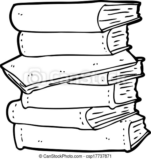 Books Cartoon Drawing Cartoon Pile of Books