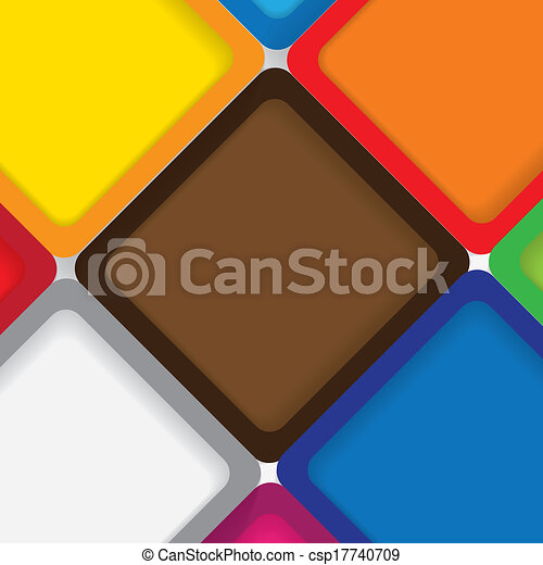 colorful background squares with borders & shadows - vector graphic. This backdrop graphic is made of orange, yellow, pink, red, green & blue papers placed next each other with subtle shadows - csp17740709