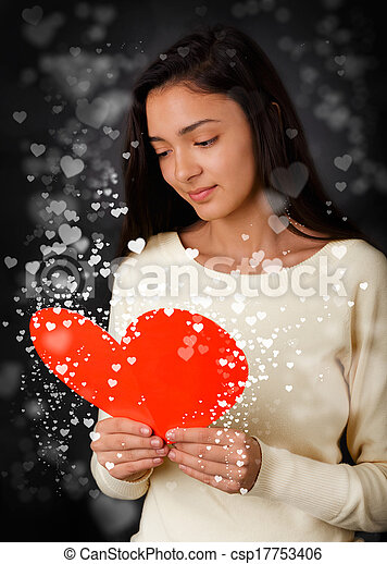 Girl Reading Valentine's Day Card - csp17753406