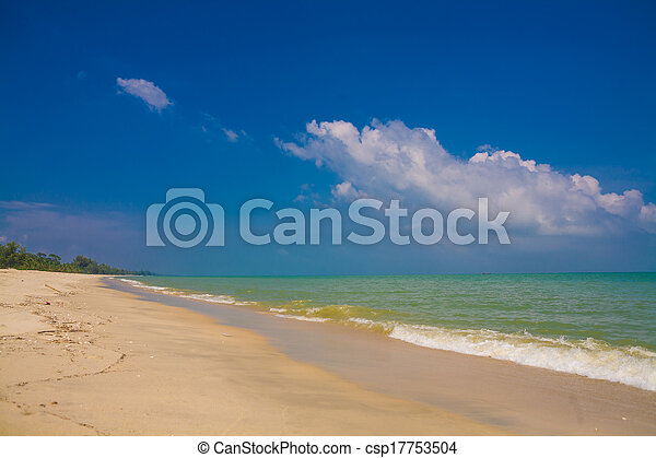sea beach blue sky sand sun daylight  - csp17753504