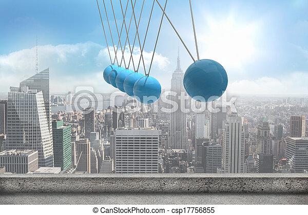 Newtons cradle above city - csp17756855