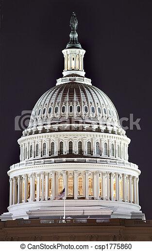 国会議事堂, の上, ワシントン, DC, 私達, ドーム, 夜, 終わり - csp1775860