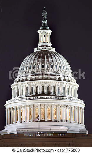 capitol, cima,  Washington,  DC, nós, cúpula, noturna, fim - csp1775860
