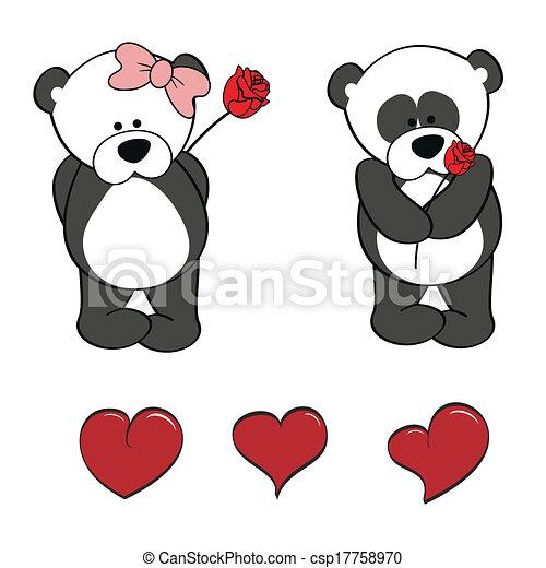 Ilustraciones vectoriales de panda, oso, bebé, lindo, caricatura ...