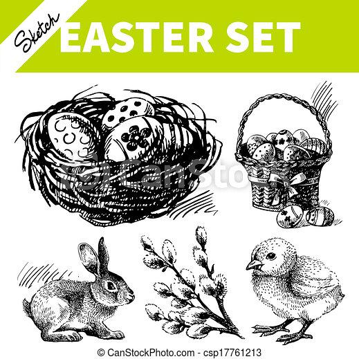 Easter set. Hand drawn sketch illustrations  - csp17761213