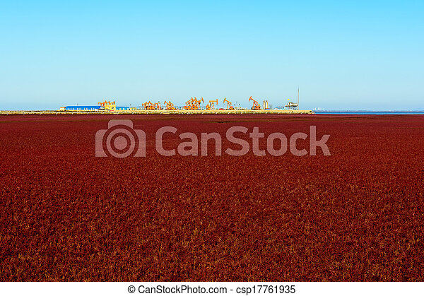 Oil pump oil rig energy industrial machine in suaeda grass