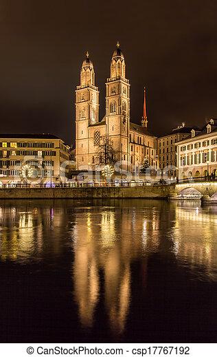 Grossmunster, a biggest church in Zurich, Switzerland - csp17767192