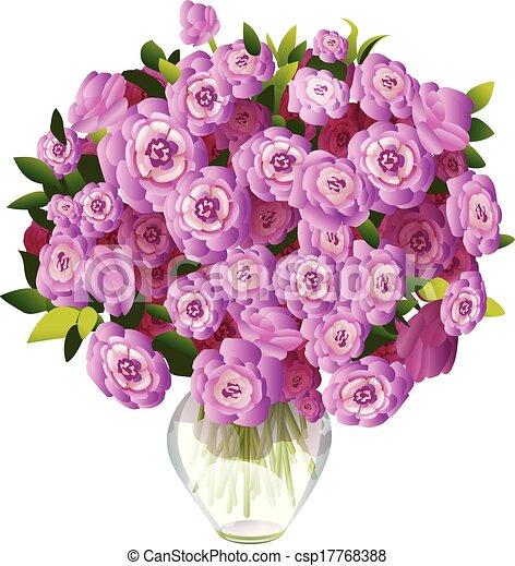 Vector of bouquet of pink flowers in a vase bouquet of for Bouquet de fleurs un