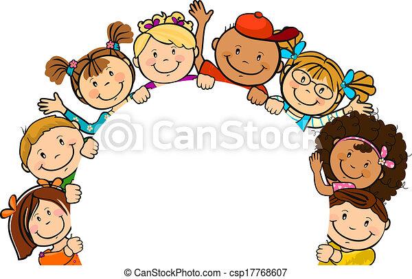 Kinderkreis clipart  Vektor Clipart von papier, kinder, zusammen, runder - The, welt ...