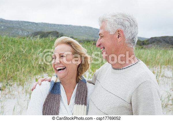 Cheerful senior couple at beach - csp17769052