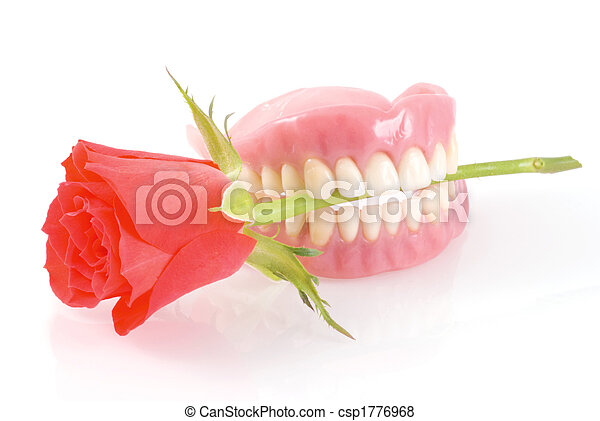 Dentures with rose. - csp1776968