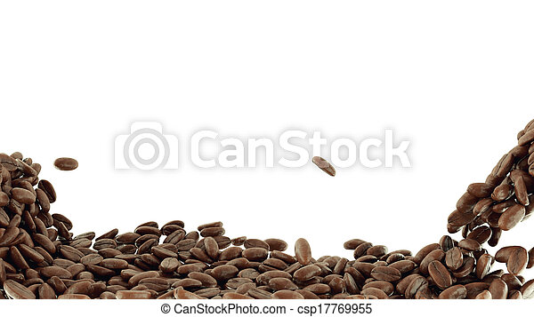 Roasted Coffee grains falling and mixing - csp17769955