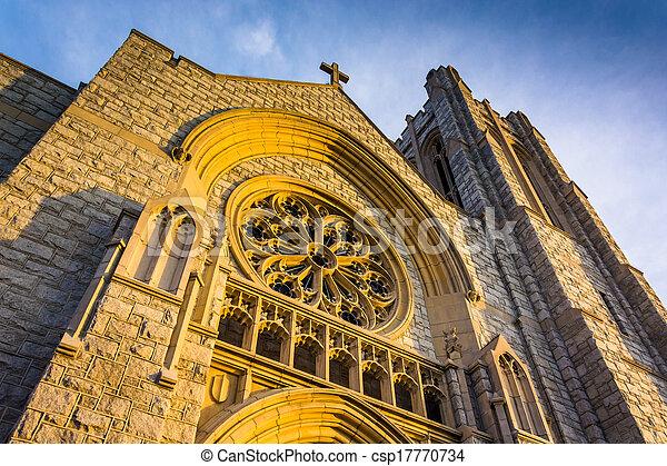 Incredible exterior  architecture at a church in Hanover, Pennsylvania. - csp17770734