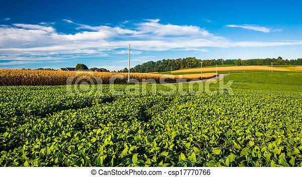 Farm fields in rural York County, Pennsylvania.  - csp17770766