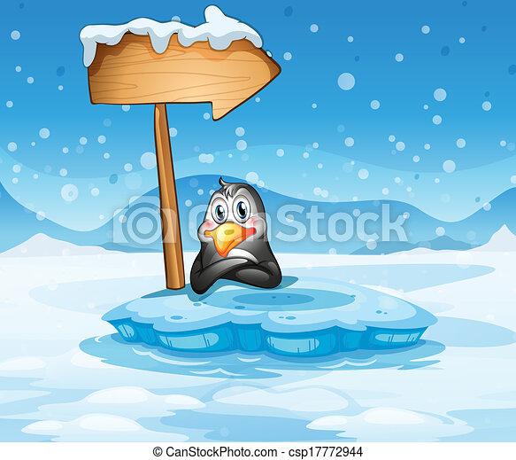 Eps vector of an iceberg with a penguin and an arrow for Clipart iceberg