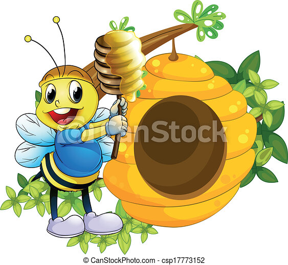 Clipart Vector Of A Happy Bee Playing With The Honey Near