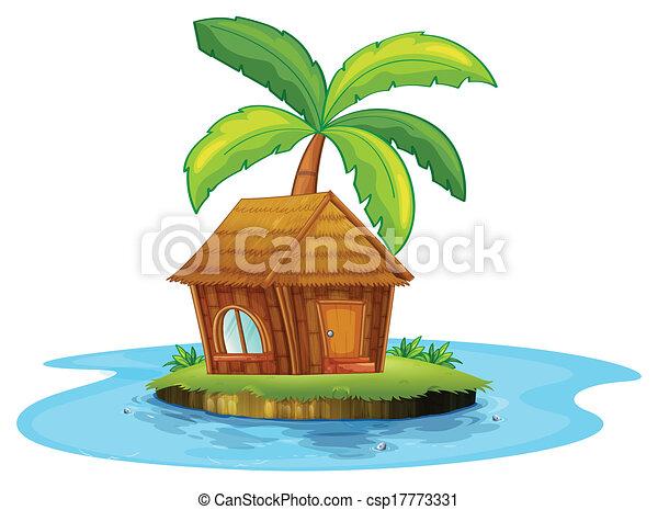 Nipa Hut Drawing an Island With a Nipa Hut And
