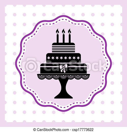 Vector Illustration Of Birthday Cake Beautiful Vintage Happy - Graphic birthday cake