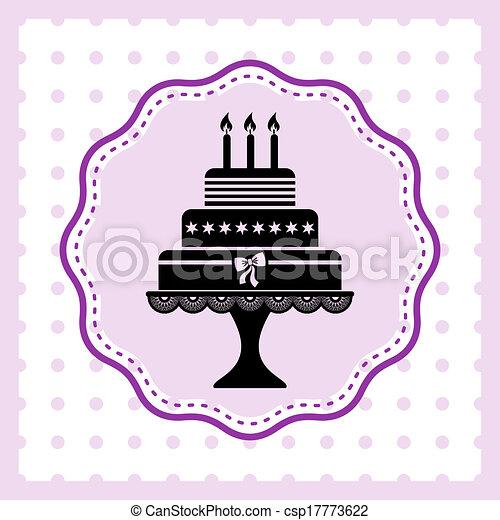 Cake Line Art Vector Free Download : Vector Illustration of Birthday cake - Beautiful vintage ...